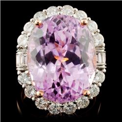 14K R Gold 21.06ct Kunzite & 1.99ct Diamond Ring