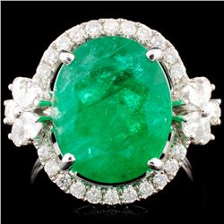18K Gold 6.19ct Emerald & 0.82ctw Diamond Ring