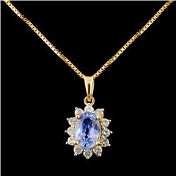 18K Gold 1.21ct Tanzanite & 0.21ctw Diamond Pendan