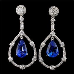 18K Gold 6.53ct Sapphire & 1.79ct Diamond Earrings