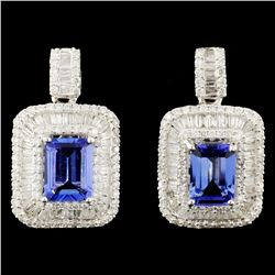 18K Gold 3.08ctw Tanzanite & 1.87ctw Diamond Earri