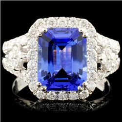 14K Gold 2.83ct Tanzanite & 0.81ctw Diamond Ring