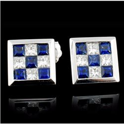 18K Gold 0.60ct Sapphire & 0.40ct Diamond Earrings