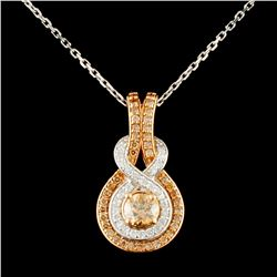 14K Gold 0.99ctw Fancy Color Diamond Pendant