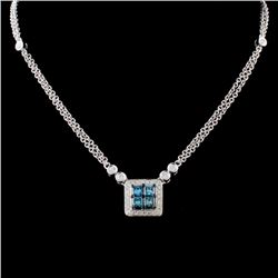 14K White Gold 0.69ctw Fancy Color Diamond Necklac
