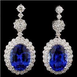18K Gold 9.03ct Tanzanite & 2.27ct Diamond Earring