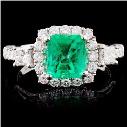 18K White Gold 1.35ct Emerald & 0.82ctw Diamond Ri
