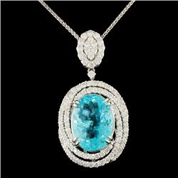 18K Gold 7.49ct Paraiba & 1.41ctw Diamond Pendant