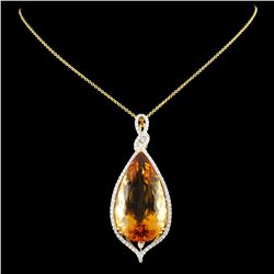 14K Gold 41.37ct Citrine & 1.05ctw Diamond Pendant