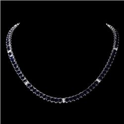 `14k Gold 53ct Sapphire 1.20ct Diamond Necklace