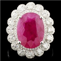 18K Gold 8.52ct Ruby & 1.13ctw Diamond Ring