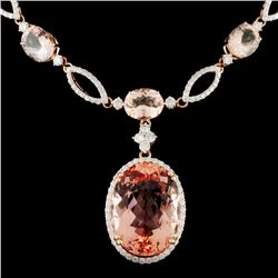 14K Gold 44.18ctw Morganite & 4.25ctw Diamond Neck