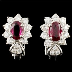 18K Gold 1.62ctw Ruby & 1.02ctw Diamond Earrings