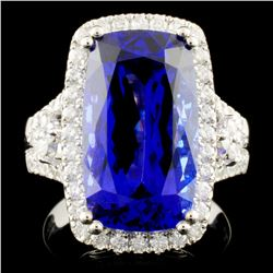 18K Gold 9.15ct Tanzanite & 0.94ctw Diamond Ring