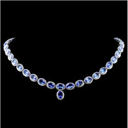 14K Gold 31.59ct Tanzanite & 6.50ctw Diamond Neckl
