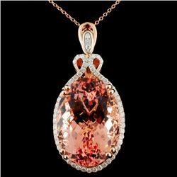 14K Gold 38.30ct Morganite & 0.80ctw Diamond Penda