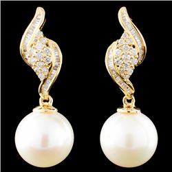 18K Gold 10MM Pearl & 0.34ctw Diamond Earrings