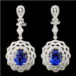 18K Gold 5.18ct Tanzanite & 3.32ctw Diamond Earrin