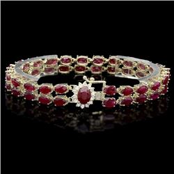 `14k Gold 24.5ct Ruby 0.40ct Diamond Bracelet