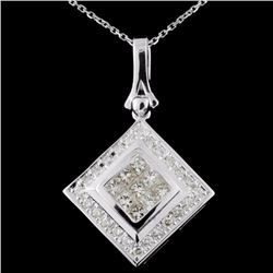 18K White Gold 1.03ctw  Fancy Diamond Pendant