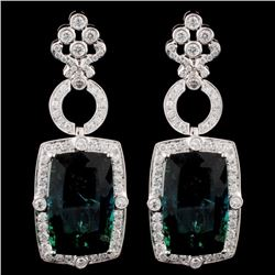 18K Gold 45.96ct Tourmaline & 3.58ct Diamond Earri