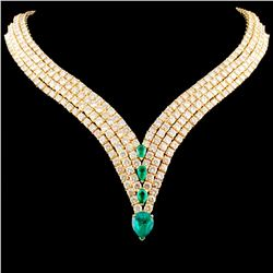 18K Gold 5.00ct Emerald & 50.00ctw Diamond Necklac