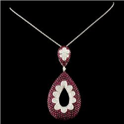 18K Gold 5.58ct Ruby & 1.24ctw Diamond Pendant