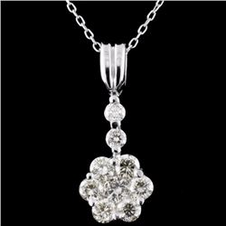18K White Gold 1.15ctw Diamond Pendant