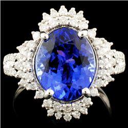18K Gold 5.03ct Tanzanite & 0.52ctw Diamond Ring