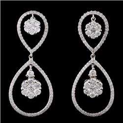 14K White Gold 2.14ctw Diamond Earrings