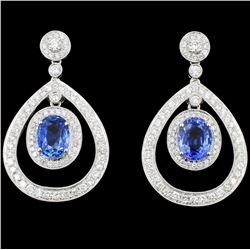 18K Gold 4.21ct Sapphire & 1.53ct Diamond Earrings