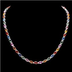 `14k Gold 27ct Sapphire 1.20ct Diamond Necklace