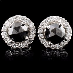 14K White Gold 1.17ctw Fancy Color Diamond Earring