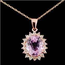 14K Gold 6.01ct Kunzite & 0.60ct Diamond Pendant