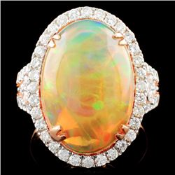 18K Gold 6.25ct Opal & 0.95ctw Diamond Ring
