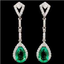 18K Gold 6.25ctw Emerald & 1.15ctw Diamond Earring