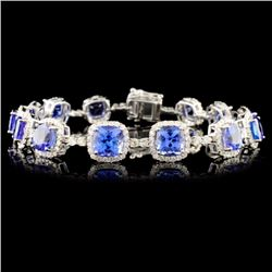 14K Gold 14.84ctw Tanzanite & 2.87ctw Diamond Brac