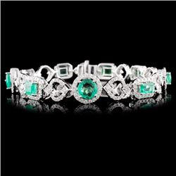 14K Gold 3.70ct Emerald & 2.20ctw Diamond Bracelet