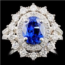 14K White Gold 2.78ct Sapphire & 1.03ct Diamond Ri