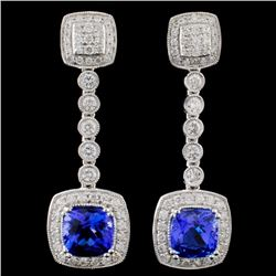 14K Gold 3.11ct Tanzanite & 0.99ct Diamond Earring