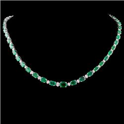 14K Gold 26.56ctw Emerald & 1.75ctw Diamond Neckla