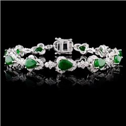 14K White Gold 7.68ct Emerald & 2.51ctw Diamond Br