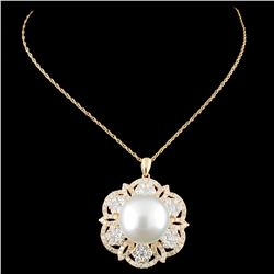 18K Gold 14MM Pearl & 2.26ctw Diamond Pendant