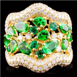18K Gold 0.45ct Emerald & 1.62ctw Diamond Ring