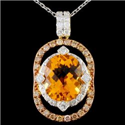14K Gold 4.92ct Citrine & 1.05ctw Fancy Diamond Pe