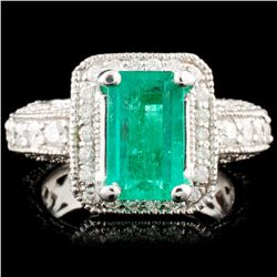 14K Gold 2.38ct Emerald & 1.51ctw Diamond Ring