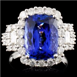 18K Gold  5.60ct Tanzanite & 1.44ct Diamond Ring