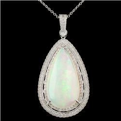 18K Gold 17.96ct Opal & 1.33ctw Diamond Pendant