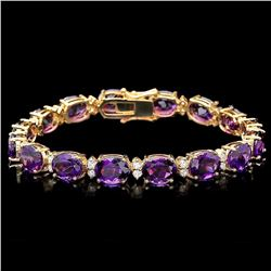 `14k Gold 29ct Amethyst 1.30ct Diamond Bracelet