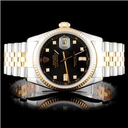 Rolex Two Tone DateJust Diamond Wristwatch